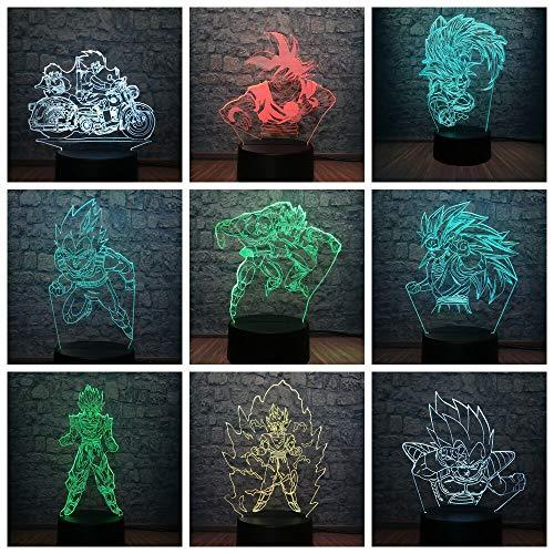 olwonow Dragon Ball Superheld Figur 3D LED Lampe RGB Beleuchtung 7 Farbwechsel Tisch Nachtlicht Dekor Fans Cool Boys T.