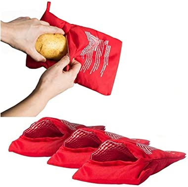 XINGZI Microwave Potato Cooker Bag 4PCS Reusable And Washable Express Saving Time Baking Fabric Pouch Bag for Any Type of Pot