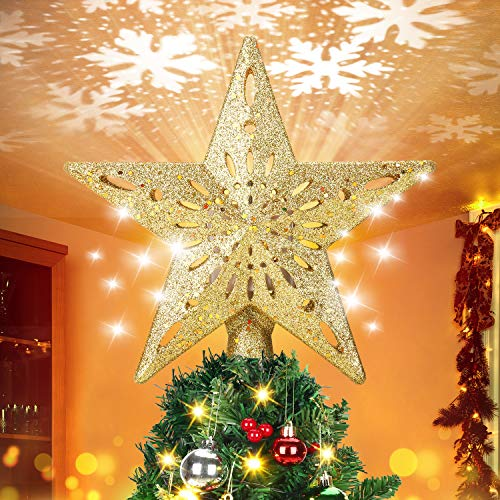 ELOVER Christmas Tree Topper with LED Rotating Snowflake Projector Lights 3D Lighted Ornaments Festival Lights (Golden)