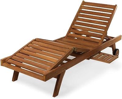 Amazon Com Strathwood Basics Hardwood Chaise Lounge