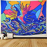 Sun and Wave Tapestry Psychedelic Sun Tapestry Colorful Trippy Wave Tapestries Abstract Hippie Tapestry Wall Hanging for Living room W78.7 × H59.1 Inch