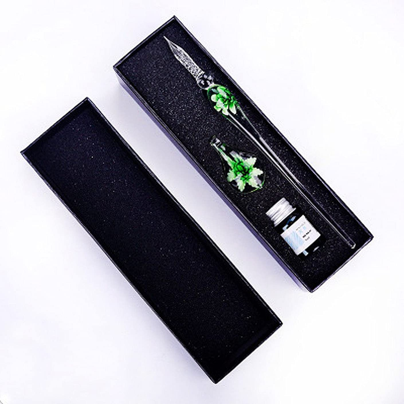 Jeston Green Petal Style Glass Dip Sign Pen Vintage Handmade Glass Signature Pen, Creative Pen+Jasper Style PenHolder+Ink+Gift Box/Great Birthday Present