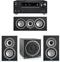 ELAC Uni-Fi 3.1 System with 2 UB5 Bookshelf Speakers, 1 UC5 Center Speaker, 1 ELAC Debut S12EQ Powered Subwoofer, 1 Onkyo TX-RZ720 Receiver