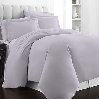 Pizuna 400 Thread Count Cotton-Duvet-Cover-Set King Violet Grey, Soft Luxurious Satin 100% Long Staple Cotton Duvet Cover,...