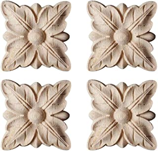 Enerhu 4 Pack Wood Carved Applique Onlay Square Carving Decal Leaf Pattern Unpainted Door Cabinet Furniture Decoration 3.15x3.15inch #9