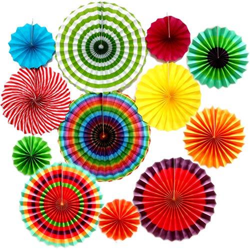 Decoraciones de Abanico de Papel,12 Piezas de Adornos de Abanico de Papel para Colgar,Suministros de Fiesta,Utilizado para la Decoración de la Pared del Banquete de Boda de Cumpleaños