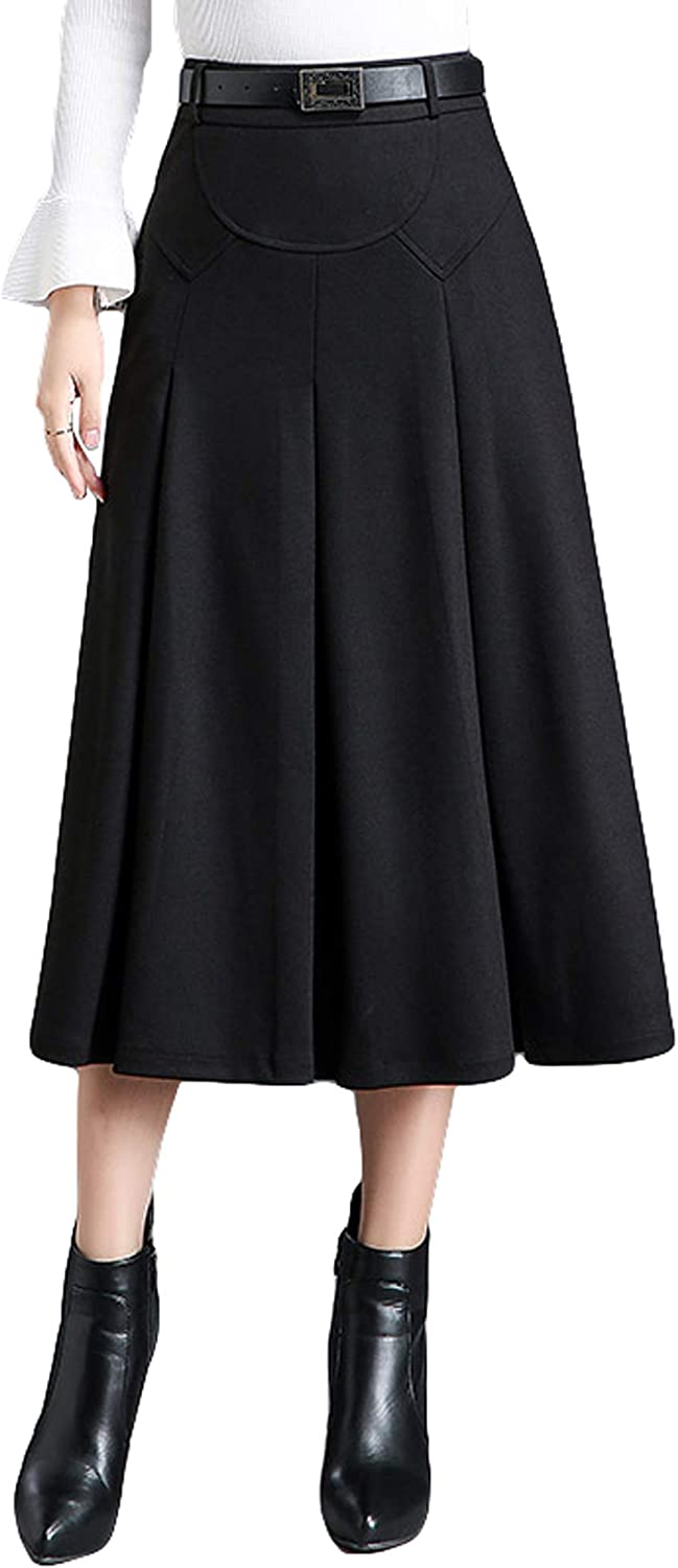Itemnew Womens Elegant High-Waist A-Line Pleated Midi Woolen Skirt With Pockets
