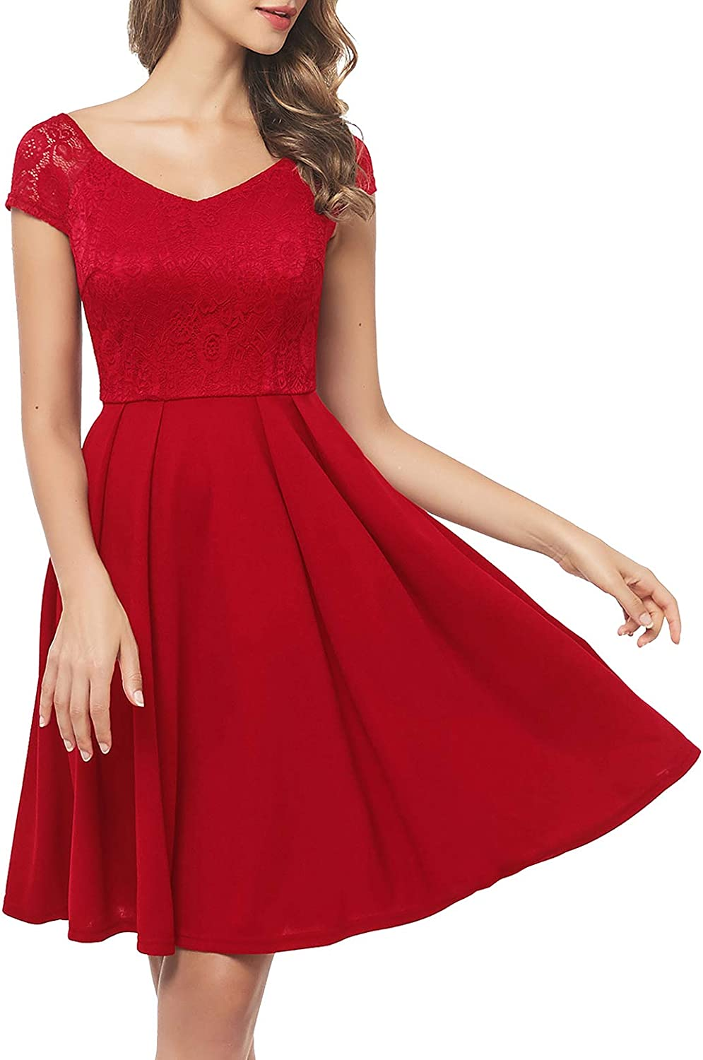 Bbonlinedress Women's Embroidery Lace Cocktail Dress High Waist Bridesmaid Wedding Guest Dresses with Pockets