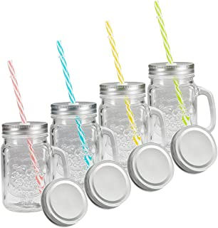 Tosnail 16 Oz. Mason Jar Mugs with Handle, Tin Lid and Plastic Straws - Old Fashion Drinking Glasses - Pack of 4