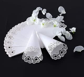 Wedding Confetti Cones,Fashionclubs 50pcs Wedding Cones for Petals,Lace Paper Cones Wedding Favor Cones for Confetti,Petals,Rice,Lavender,or Other Toss
