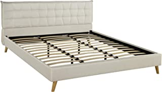 Upholstered Linen Bed Frame, Geometric Tufted Headboard with Low Profile Frame (Queen, Beige)