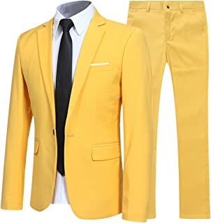 Allthemen Abiti da Uomo 2 Pezzi Suit Slim Fit Wedding Dinner Tuxedo Abiti per Uomo Business Casual Giacca e Pantaloni 10 C...