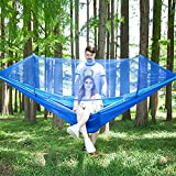 LFL Camping Hammock with Mosquito Net, Hammocks with Tree Straps Carabiners, 1 & 2Persons Outdoor Portable Tree Straps Swing Hammock, Nylon Parachute Material Hammocks, Blue