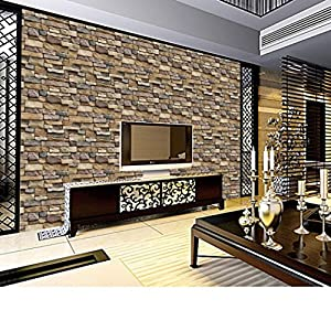 Snowfoller 3D Wall Brick Stone Rustic Effect Sticker Home Decor -Self-adhesive Panel Decal PE Wallpaper - Easy to Peel and Stick - Sofa Background TV Walls Decor (Multicolor)