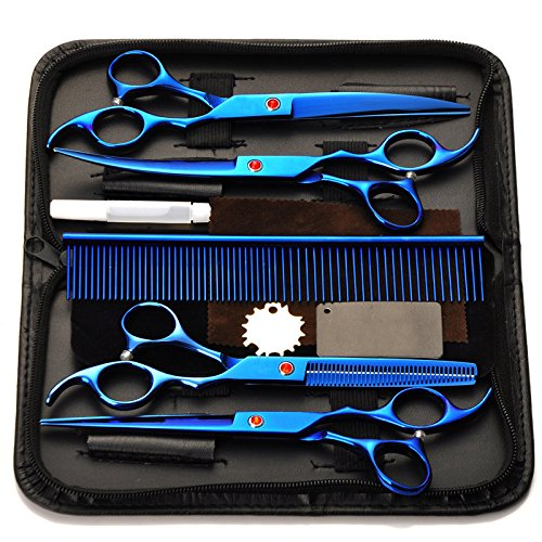 Fancyli Dog Grooming Scissors, Rainbow 7 Inches Pet Stainless Steel Curved Scissor Suit Provided with Curved Thinning Shear and Steel Grooming Comb Set (Blue)