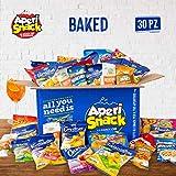 APERIBOX BAKED 30 - Fantastica box piena di snack salati, stuzzichini per aperitivo fai da te e frutta secca. Almeno 30 prodotti, ottima idea come box regalo. Ampia varietà di snack da forno!