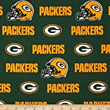 Quilt Fabric Traditions NFL Cotton Broadcloth Green Bay Packers White/Green/Yellow Quilt Fabric By The Yard, Green/Yellow