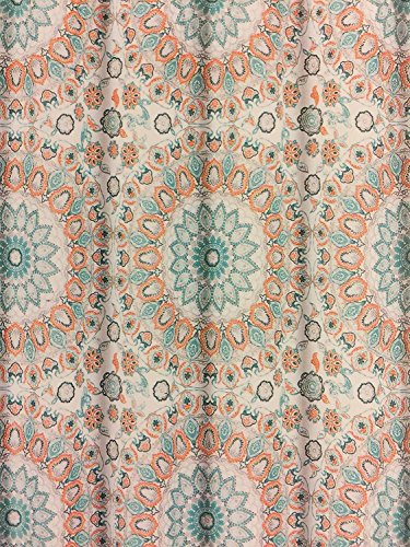 Cynthia Rowley azul turquesa y naranja tapiz Medallion cortina de ducha