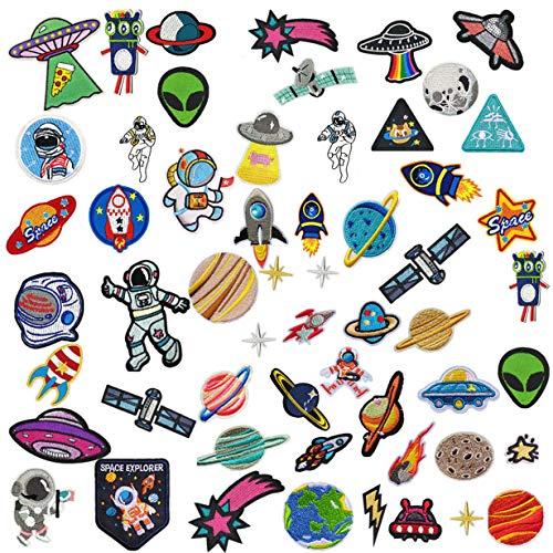 GOTONE Hierro en parches Parche bordado cosido,56 PCS Sistema Solar Planetas Espaciales de parches lindos, Tamaño surtido Decoración Coser parches