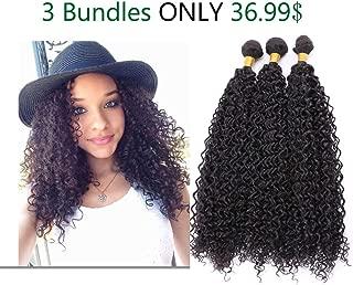 FeiBin Mongolian Kinkys Curly hair 3 Bundles 100% Human Hair Weave Virgin Unprocessed Afro Kinky Human Hair Extensions Natural Color 10 10 10 Inch