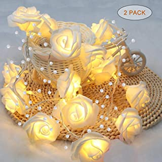 YMing Battery Operated String Lights, 3.5FT Rose Pearl String Lights, Fairy Light Indoor Decor for Wedding Bedroom Background Wall Bookshelf (2 Pack)