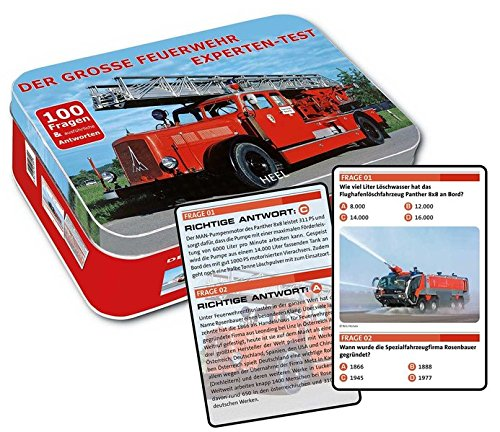 Der grosse Feuerwehr Experten-Test: 100 Fragen & ausführliche Antworten. Metallbox mit 50 Spielkarten