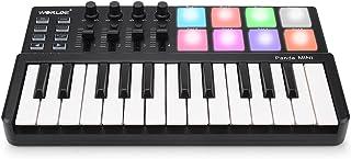 MIDI Keyboard 25 Keys, Worlde Panda MINI II USB Keyboard MIDI with 8 RGB Backllit Drum Pads, 4 Sliders and 4 Knobs