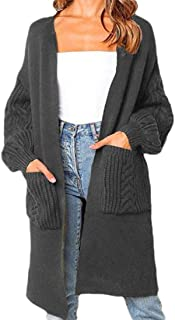 Women Casual with Pocket Open Front Long Sleeve Warm Jumper Knitted Long Sweaters Cardigan
