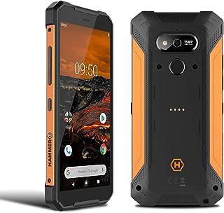 """HAMMER Explorer 5,7"""" HD+ Outdoor Handy, Militärstandard Smartphone, Mega Akku 5000mAh mit schneller Ladung, Baustellenhandy mit Laserpointer, NFC, Wasserdicht/Stoßfest, LTE 4G, IP69, Dual SIM   Orange"""