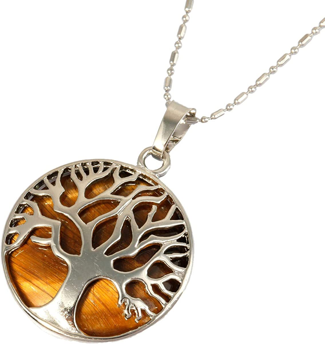 Nupuyai Tree of Life Stone Pendant Necklace for Unisex, Pendants with Chain 19.5