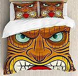 ABAKUHAUS Tiki Bar Funda Nórdica, Cara Enojada Totem, Estampado Lavable, 3 Piezas con 2 Fundas de Almohada, 200 cm x 200 cm, Multicolor