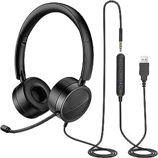 New Bee Auriculares con Microfono pc USB / 3.5mm Auriculares Call Center Peso Ligero Micrófono con Cancelación de Ruido pa...