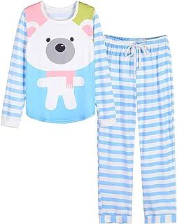 VENTELAN Women Pajamas Cute Christmas Bear Sleepwear Long Sleeve Stripes Loungewear