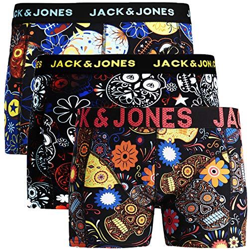 JACK & JONES Boxershorts 3er Pack Herren Trunks Shorts Baumwoll Mix Unterhose Core S M L XL XXL (L, 2)