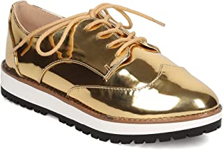 7d90e4187198 Qupid Women Metallic Leatherette Lace Up Spectator Loafer FD75 - Gold