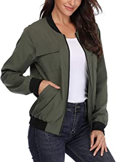 MISS MOLY Women's Lightweight Jackets Zip Up Coat Rib Collar Multi-Pockets Windbreaker Bomber Jacket Outwear
