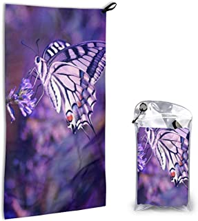 Microfiber Towel Purple Butterfly Sports Travel Beach Towels Washcloth Hand Fast Drying, Super Absorbent, Compact Size. Perfect for Camping, Gym, Workout, Swimming, Yoga, Backpacking