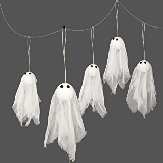 Pack of 12 Small Hanging Ghost with White Creep Cloth and Black Eyes for Halloween Party Decoration Home/Yards/Garden/Pub/...