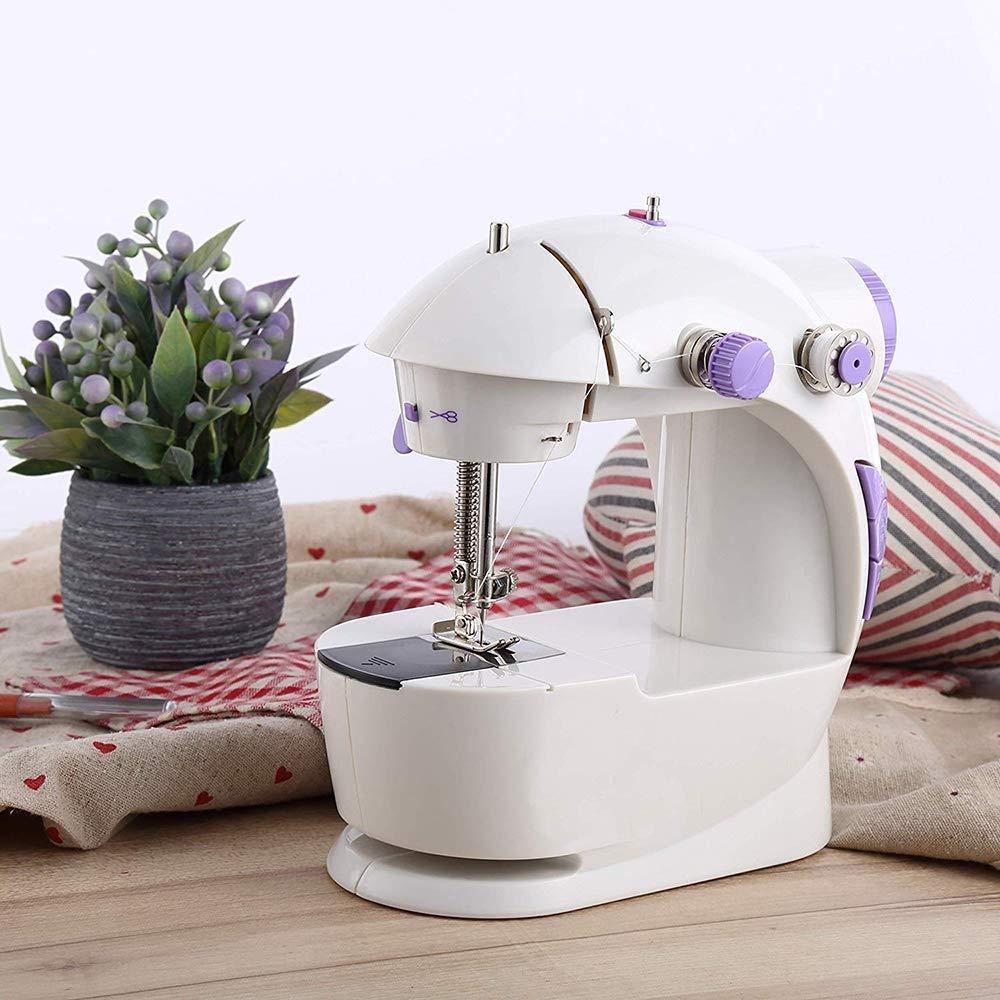 Máquina de coser portátil, Pequeña máquina de coser y la larga mesa de actualización portátil de dos hilos de doble potencia de la casa sistema de viaje de los niños de dos