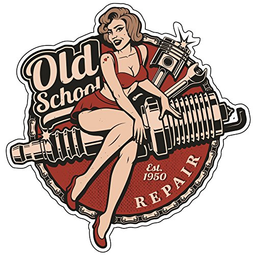 Finest-Folia Retro Vintage Aufkleber Sticker Old School Ace Kult Rockabilly (#22 Spark Plug)