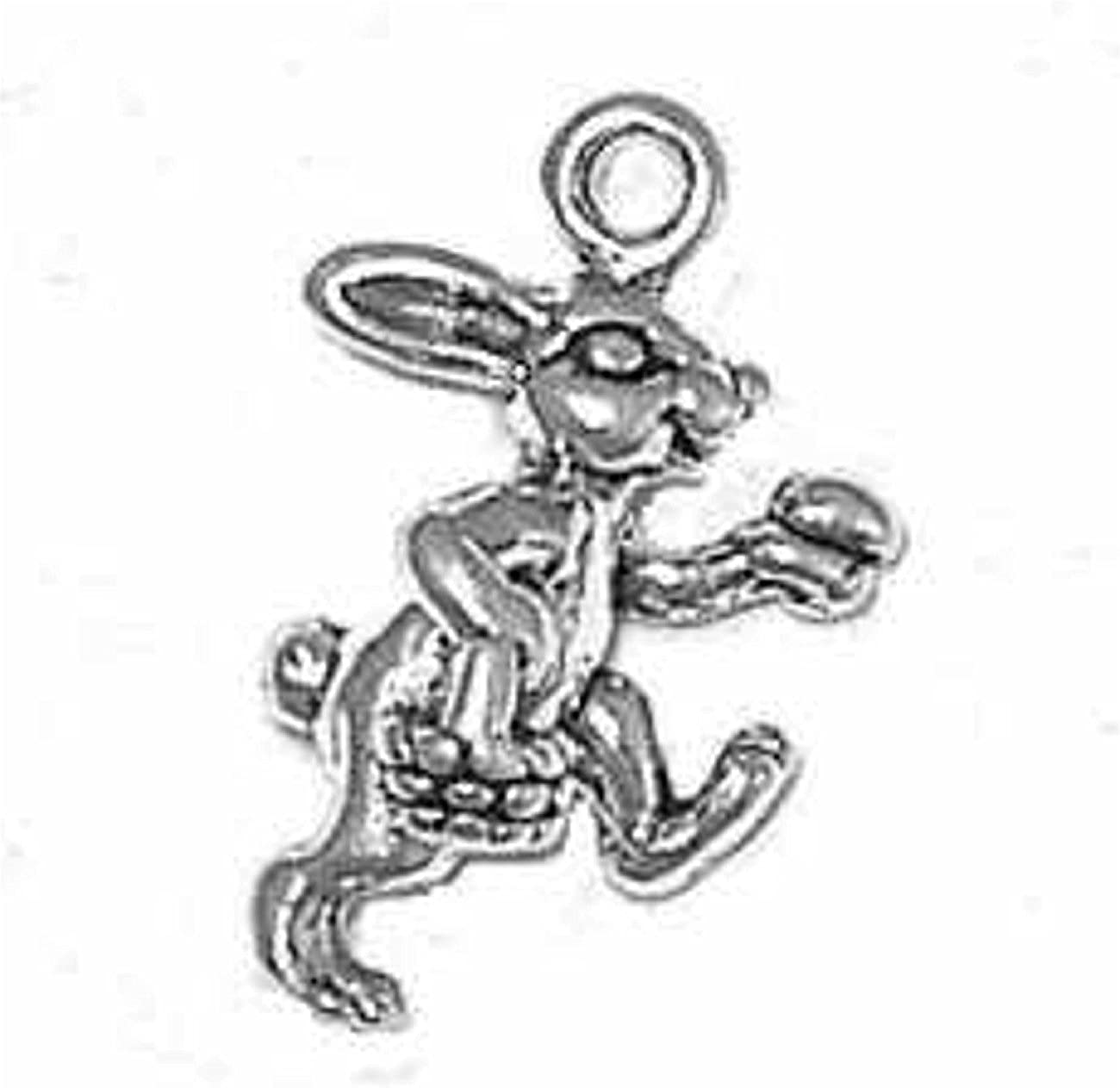 Sterling Silver Charm Bracelet Attached 3D Bunny Walking Max 46% OFF Easter mart