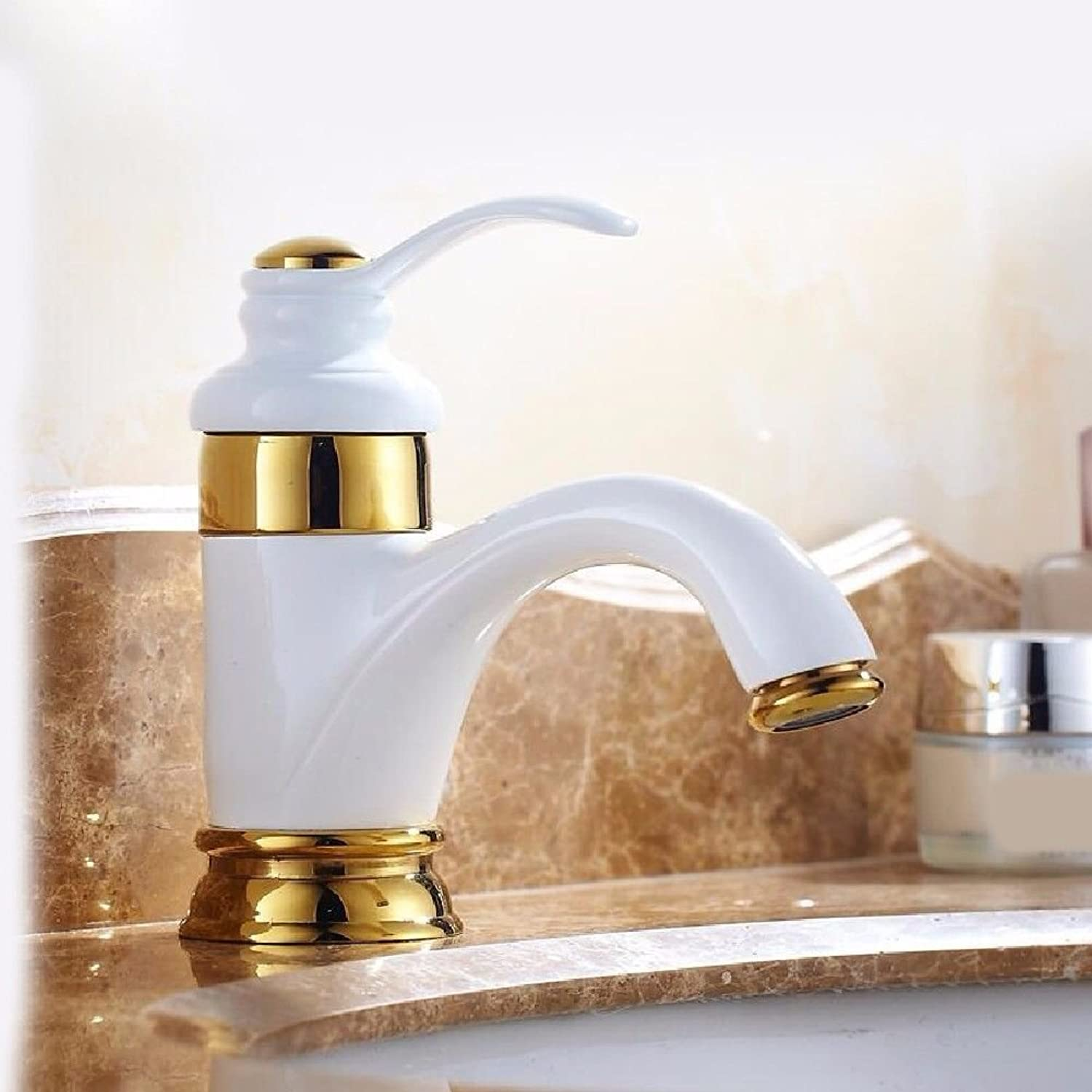 NewBorn Faucet Water Taps Hot And Cold Water Antique-Brass Painted White Water Basin And Cold Water Water Tap