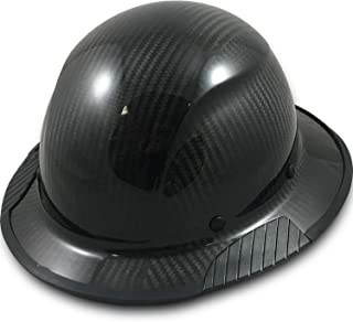 Texas America Safety Company Actual Carbon Fiber Material Hard Hat with Hard Hat Tote- Full Brim, Glossy Black with Protective Edging