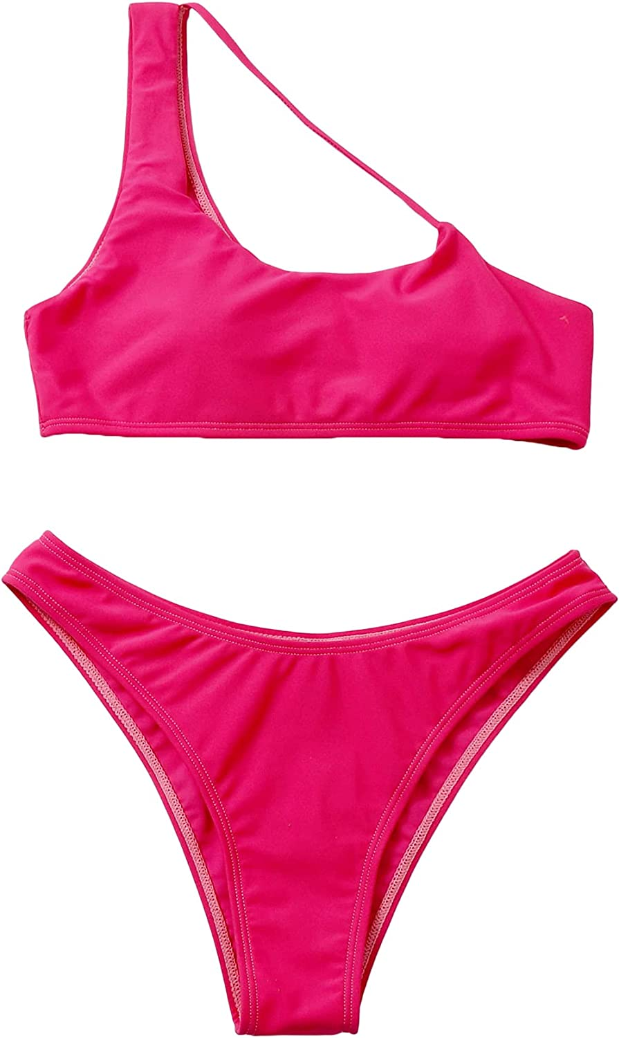 SOLY HUX Women's Cut Out One Shoulder Bikini Two Piece Swimsuits Bathing Suits