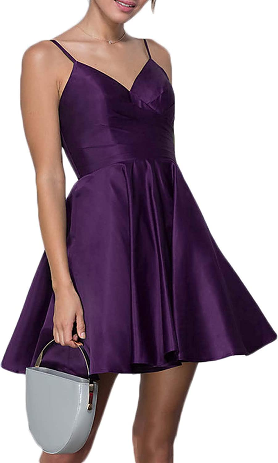 Spaghetti Strap V Neck Pleats Prom Dresses Short Satin A Line Homecoming Dresses 2019 with Pockets