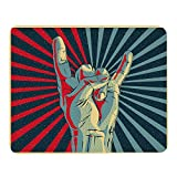 Wozukia Rock Roll Sign Gaming Mouse Pad Hand in Rock N Roll Sign Personalized Music Red and Blue Light Mouse Pads Rubber Large Mousepad Mouse Mat for Computer Desk Laptop Office Work 7.9x9.5 Inch