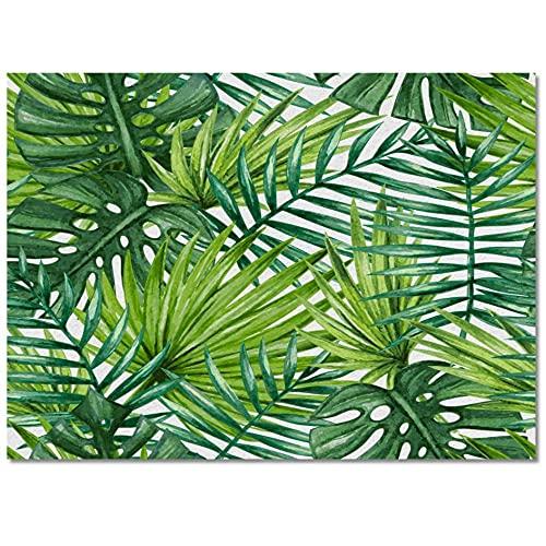 Hojas de Palmera Planta de Hojas de la Selva Alfombra de Cocina Verde Alfombrilla de Entrada para Sala de Estar Alfombra de Piso de Noche Decoración para el hogar Alfombra larga-60x90