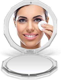 "OMIRO Compact Mirror, 3½"" 1X/10X Magnification Mini Folding Makeup Mirror for Purses (Silver)"
