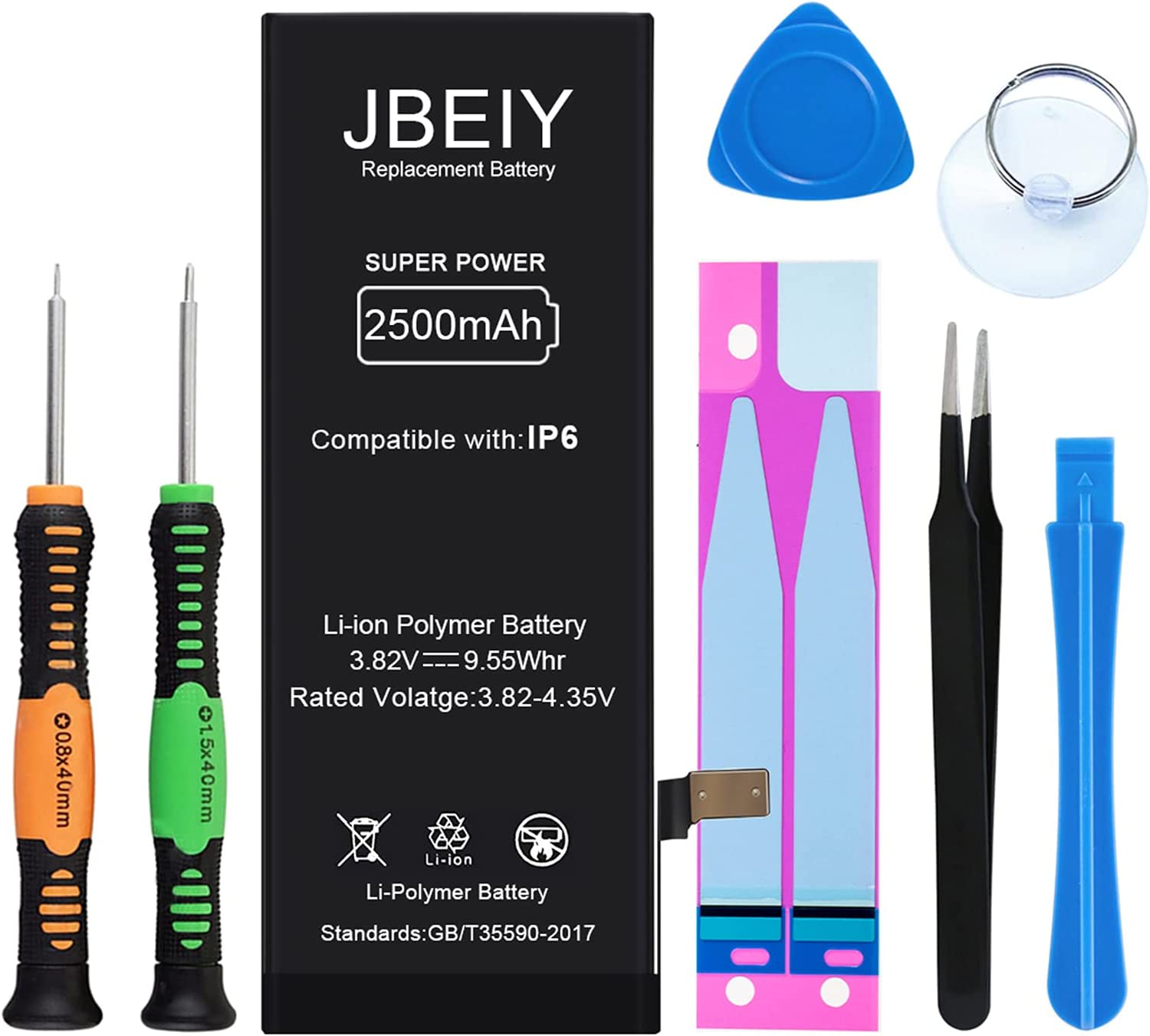 JBEIY 2500mAh Battery for iPhone 6, New 0 Cycle Super High Capacity Internal Replacement Battery, with Complete Professional Tool Kit and Instructions -1 Year Warranty