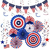 Whaline 23Pcs Patriotic Party Decorations Set, 8 American Flag Hanging Paper Fans, 14 Hanging Swirls and 1 USA Flag Pennant Bunting Banner for 4th of July, Independence Day Party Supplies
